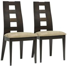 Set of 2 Paxton Dark Brown Microfiber Dining Chairs -