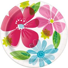 Striped Spring Flowers Party Plates, By Unique Flower Crafts Kids, Crafts For Kids, Christmas Paper Plates, Spring Party, Party Plates, Flower Plates, Valentines Day Party, Spring Flowers, Wedding Paper