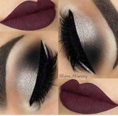 Dark lip, shimmery eye