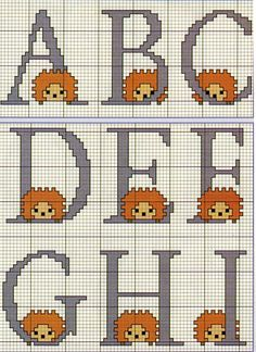 Hedgehogs alphabet J-R Cross Stitch Alphabet, Cross Stitch Patterns, Hedgehog Cross Stitch, Cross Stitching, Baby Knitting, Couture, Needlework, Kids Rugs, Lettering