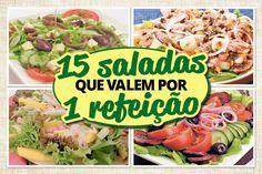 As saladas são ótimas, porém, comer as folhas, pura e simplesmente, pode ser um pouco enjoativo. Confira 15 ideias de saladas que valem por uma refeição! Celebrity Hairstyles, Light Recipes, Carne, Potato Salad, Herbalism, Sandwiches, Low Carb, Beef, Chicken