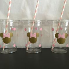 Minnie Mouse pink and gold birthday cups Minnie by DivineGlitters