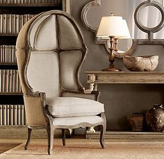 I've pinned this in green before, but I just love it, great in an office/library, or formal living room as a wow piece! | Versailles domed chair
