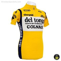 Celebrating the timeless style, quality and craftsmanship of Italian cycling jerseys with a look back at some classic designs which have previously graced the peloton of the Giro d'Italia. Another stand out design is this jersey from the Del Tongo team featuring the contrasting yellow and black colour scheme used in the brand identity of their kitchen designer sponsor.