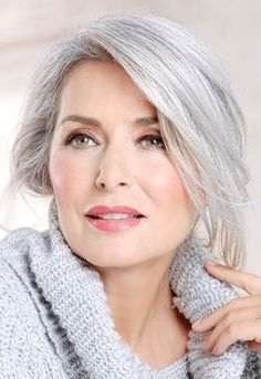 Beautiful soft glowing complexion and hair. Beautiful soft glowing complexion and hair. Beautiful soft glowing complexion and hair. Grey Hair Over 50, Long Gray Hair, Silver Grey Hair, White Hair, Gray Hair Women, Grey Hair Grey Eyes, Grey Hair For Pale Skin, Grey Hair Styles For Women, Silver Haired Beauties