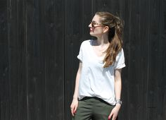 #White and #green.  #fashion #look #outfit #girl #funktionschnitt #theory #silk #sneakers #adidas #white #summer #sunglasses #aceandtate #brand #aesthetic #modern #photography