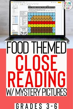 This food themed close reading is a great reading comprehension activity for grades 3, 4, 5, and 6. This reading product comes in digital or print form. Great for in the classroom or distance learning. This close reading activity can be used on Google Slides, Chromebooks, Laptops or desktops! Comes with 3 differentiated reading passages, mystery picture, graphic organizer and more! Your students will love to practice close reading with these fun activities.