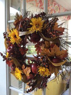Fall wreath-on my side door.