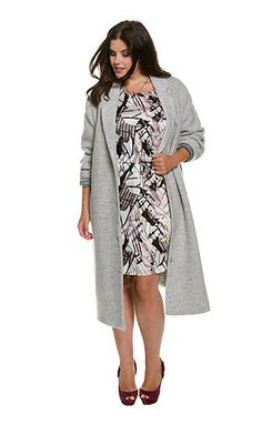 Wool Blend Notch Collar Duster Coat - extra long, loose-fitting style with deep lapels, button placket, and 2 welt pockets. Long sleeves and striped linin