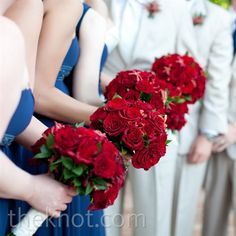 Red Rose Bridesmaid Bouquets