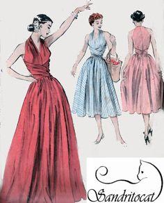 1950s Wraparound Halter Midrfiff Dress or Evening Dress w/ Surplice Bodice Butterick 6338 Vintage ROCKABIILY Sewing Pattern Size 18 Bust 36 di sandritocat su Etsy https://www.etsy.com/it/listing/189372874/1950s-wraparound-halter-midrfiff-dress
