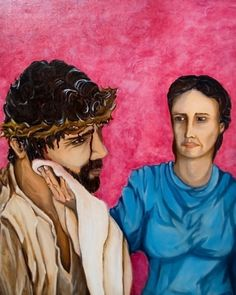 Painting-Figurative-Brandon J. Hudson: Station VI: A Woman Wipes the Face of Jesus