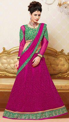 USD 54.65 Magenta Net Embroidery Lehenga Choli 44443