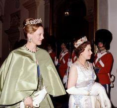 Queen Margrethe of Denmark and Queen Elizabeth II 1979 State Visit to Denmark