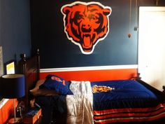 Boys bedroom, Blue, orange, Chicago Bears