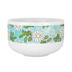 Girly Turquoise Watercolor Paint Cute White Flower Soup Bowl With Handle