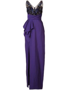Shop Marchesa Notte embellished pleated waist gown.