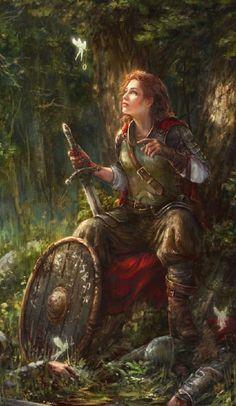 Female Knight & Fairies by Allnamesinuse