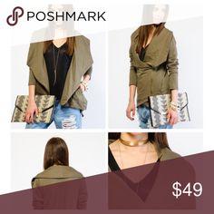 Olive colored Moto zip knit  jacket Moto zip knit jacket Jackets & Coats