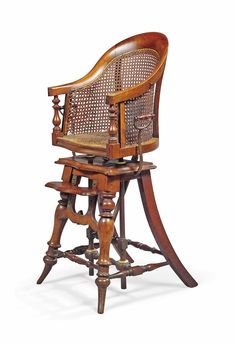 A VICTORIAN MAHOGANY CANED HIGH CHAIR -  MID-19TH CENTURY