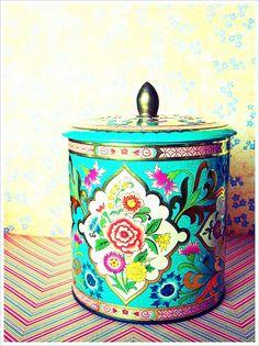 Vintage turquoise tin - love this!