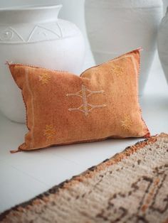 Rust Mini Lumbar 2 | Moroccan Cactus Silk Cushion – Blush & Ochre Agave Plant, Rust Color, Cushion Covers, Hand Stitching, Moroccan, Hand Weaving, Cactus, Artisan, Blush