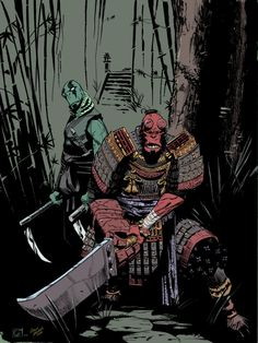 / Hellboy Samurai Ninja Abe Sapien por petevaldez (desenho) e Corin Howell (cores) /
