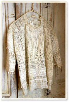 1920年 総レースブラウス フリンジ - 【Belle Lurette】ヨーロッパ フランス アンティークレース リネン服の通販