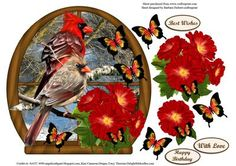 River Window Bird Couple with Flower Butterfly Decoupage on Craftsuprint - Add To Basket!