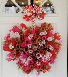 Heart Shaped Wreath, Valentine's Day Wreath, Home Decor, Spiral Deco Mesh, Red, Pink, White, Burlap, Front Door Wreath, Wreath, Valentines by GlitterDazzleSparkle on Etsy