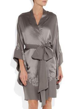 Handmade Anthracite silk-satin Gray lace appliqué 31c454c8a