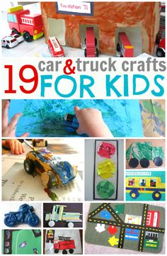 Awesome roundup of car and truck crafts for kids- even ones who aren't usually into crafts.
