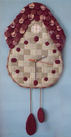 House home clock wall hanging hand embroidery stitch sewing applique patchwork quilt PDF E Patterns Fabric Crafts, Sewing Crafts, Sewing Projects, Diy Crafts, Home Clock, Diy Clock, Clock Wall, Paper Piecing, Patchwork Quilt