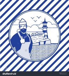 Illustration in the style of a linear pattern on the marine theme: the sea, the coastal town, ship, lighthouse, cliffs