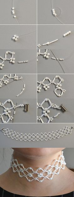 white beads necklace, LC.Pandahall.com will share us the tutorial soon. #pandahall | Necklace 2 | Pinterest by Jersica