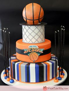 Basketball Bar Mitzvah Cake by Pink Cake Box in Denville, NJ. Cake Bars, Bar Mitzvah, Basketball Birthday Parties, Basketball Cakes, Basketball Season, Pro Basketball, Basketball Anime, Sports Themed Cakes, Pink Cake Box
