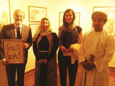 Opening of the exhibition 'AL AHLA' last March 8th at the OFC, Omani French Centre. #Photo of Caroline Narjes, Public Relations & Marketing with His Excellency Abdullah Al Harrasi, chairman of the Public Authority for Radio and TV, and H.E. Roland Dubertrand, Ambassador of France and the artist Leila Allagui