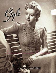 free vintage knitting pattern 1940s jumper cardigan swing wwii