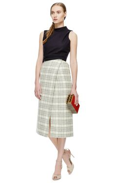 Yigal Azrouel Windowpane Plaid Wrap Skirt