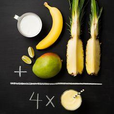Valmista tuoreista hedelmistä ja kookosmaidosta trooppinen kookos-hedelmäsmoothie. Sopii myös maidottomaan ruokavalioon.