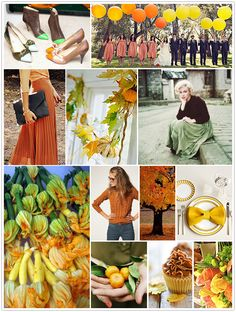 monochromatic monday, squash blossoms, yellow hues, green, orange, autumn, fall, balloons, pleated skirt, place setting, cupcake