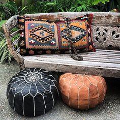 Moroccan Leather pouffes & Turkish Kilim Cushions result in the perfect combination! maisonandmaison.com.au