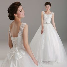 Sweetheart with lace straps natural waist full A-line wedding dress with appliques decoration