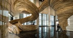 An Amazingly Sculptural Spiral Staircase Has Been Installed In The Lobby Of This Office Building | CONTEMPORIST