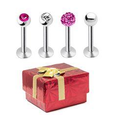 16ga Labret Monroe Piercing Barbells Holiday Gift  4 Pack 316L Steel | Gift Box #BodyJewelrySource