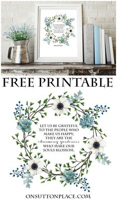 Charming Gardeners Wreath Printable | Marcel Proust quote | Get this free blue flowered wreath printable to use for DIY wall art. Add it to your decor to welcome spring and summer into your home!