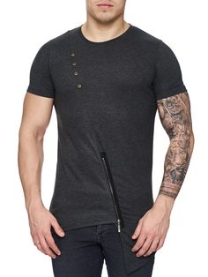 K&D Men Asymmetrical Zipper Long T-shirt - Dark Gray