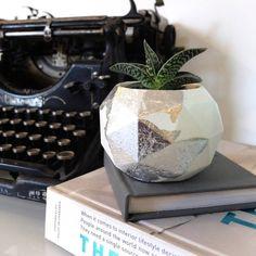 Concrete And Silver Leaf Geometric Plant Pot