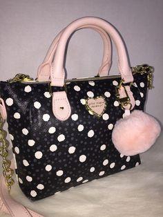 Betsey Johnson Pinch Spot Polka Dot Satchel Crossbody for sale online Betsey Johnson Purses, Louis Vuitton Speedy Bag, Crocs, Satchel, Polka Dots, Best Deals, Bags, Fashion, Totes
