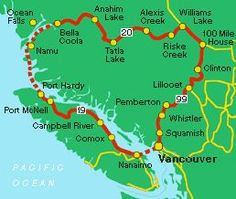 Circle tours of British Columbia - the Discovery Coast circle tour of British Columbia, Canada. Road Trip Map, Road Trips, Voyage Canada, Victoria British, Places To Travel, Oh The Places You'll Go, Canadian Travel, Alaska, Motorcycle Travel